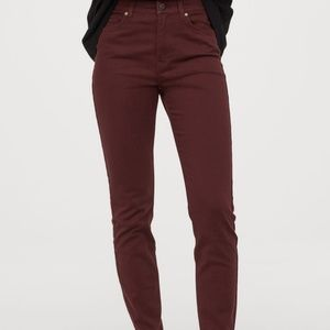 HM Burgundy High Waist, Skinny Pant, Size 2/32